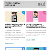 Linkedin launches Events & Live and explains Feed Ranking; COVID-19: Instagram launches Guides to find information and inspiration and more  | Social Media Newsletter