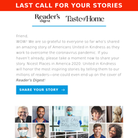 Last Chance: Tell Your Story & Get in Reader's Digest!