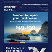 $49 fares + earn 2X Rapid Rewards points for when you're travel-ready.