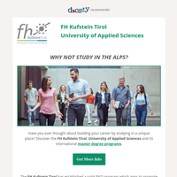 {NAME}, why not study in the Alps? We are interested in your profile!