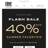 Flash Sale Starts Now! 40% Off Summer Favorites
