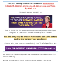 ELIZABETH WARREN: Americans need to be able to vote safely [please help!!]