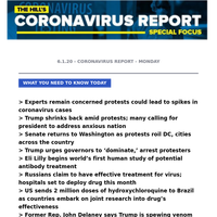 CORONAVIRUS REPORT: A nation in pain; the weekend that was | Trump shrinks back amid protests; many calling for president to address anxious nation | Experts remain concerned protests could lead to spikes in coronavirus cases | Senate returns to Wash