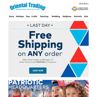 Last Day to Get Free Shipping on All Things Patriotic!