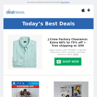 Extra 60% off J.Crew Factory Clearance | Used Games at GameStop Sale | Up to 60% off Garage Organization Sale at Wayfair