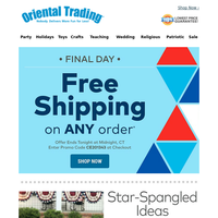 Final Day to Get Free Shipping on All Things Patriotic!