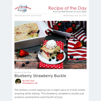 Patriotic Blueberry Strawberry Buckle