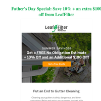 Father's Day Special: Save 10% + an extra $100 off from LeafFilter