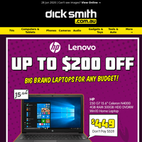 Up To $200 OFF HP & Lenovo Laptops | From $449