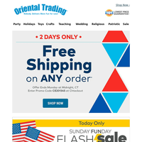 Today Only! 50% off Patriotic Flash Sale + Free Shipping on ANY Order!