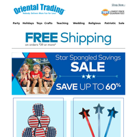 Star-Spangled Patriotic Sales PLUS Free Shipping