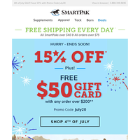 FREE $50 Gift Card + 15% Off