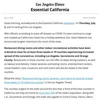 Essential California: L.A. bids adieu to indoor dining, again
