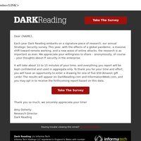 Brief Dark Reading Survey on Cybersecurity, Enter to Win Amazon gift card