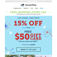 Last Day for Free $50 Gift Card + 15% Off
