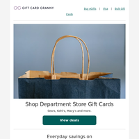 All your favorite department store gift cards in one place!