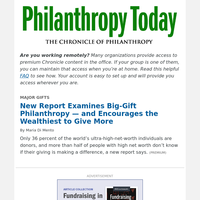New Report Examines Big-Gift Philanthropy — and Encourages More Giving