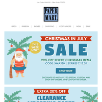This Week Only! 20% Off Christmas in July Sale