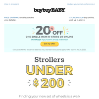 With strollers *this* affordable, you may want two... + *THIS* 20% off coupon!