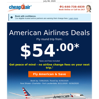 American Airlines Deals: Fly Round Trip from $54.00