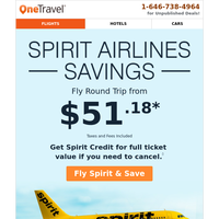 Fly Spirit Airlines from $51.18 Round Trip