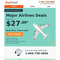 Fly from $27.09 on Major Airlines! Don't miss out...
