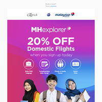 Enjoy 20% off domestic flights when you join MHexplorer today.