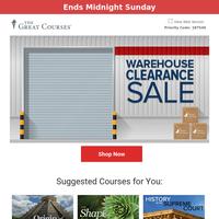 Warehouse Clearance Sale - Save 85%!