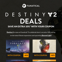 Your Destiny 2 coupon is inside! Steam expansions now on sale at Fanatical
