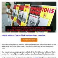 Sign if you agree: Black Lives Matter. Black people deserve restorative compensation.