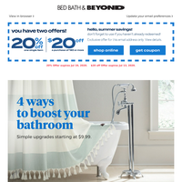 Oh, wow: Presenting your bathroom upgrade 101! Plus, you're saving extra with this 20% or $20 coupon.
