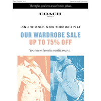 Up To 75% Off Our Wardrobe Sale, Online Now Through 7/14