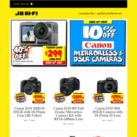 10% Off Canon Mirrorless & DSLR Cameras - Ends Today