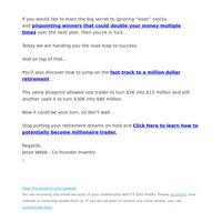 Free: Secret to Pinpoint Money Making Stocks