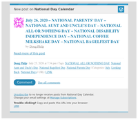 [New post] July 26, 2020 – NATIONAL PARENTS' DAY – NATIONAL AUNT AND UNCLE'S DAY – NATIONAL ALL OR NOTHING DAY – NATIONAL DISABILITY INDEPENDENCE DAY – NATIONAL COFFEE MILKSHAKE DAY – NATIONAL BAGELFEST DAY