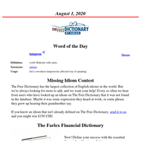 Word of the Day, August 1, 2020