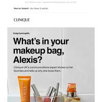 Makeup bag show & tell.