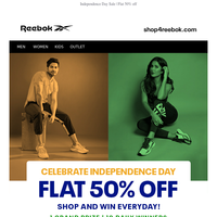 Get Flat 50% OFF at the Reebok Independence Day SALE