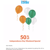 Independence Day Special: 50% off on CN Traveller subscription