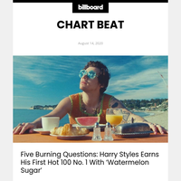 Billboard Chart Beat: Harry Styles Hits A 'Watermelon Sugar' High Atop Hot 100