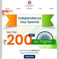 Independence Day Special: Flat Rs 200 Off On Any Flight!