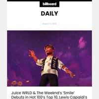 Juice WRLD & The Weeknd's 'Smile' Debuts in Hot 100's Top 10, Lewis Capaldi's 'Before You Go' Rises to No. 10