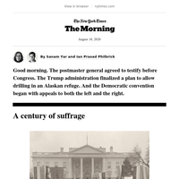 Tuesday Morning: Suffrage at 100
