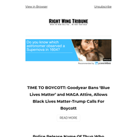 TIME TO BOYCOTT: Goodyear Bans 'Blue Lives Matter' and MAGA Attire, Allows Black Lives Matter-Trump Calls For Boycott