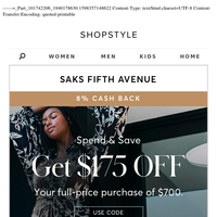 Spend & Save $175 at Saks Fifth Avenue!