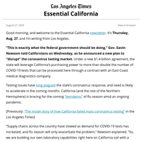 Essential California: A new plan to expand testing