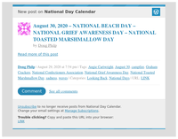 [New post] August 30, 2020 – NATIONAL BEACH DAY – NATIONAL GRIEF AWARENESS DAY – NATIONAL TOASTED MARSHMALLOW DAY
