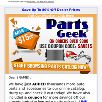 New Catalog Update + $15.00 Coupon Code