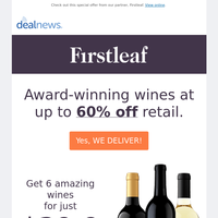 6 Award Winning Wines Shipped To Your Door for $29.99