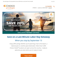 Get 20% Off Your Stay This Labor Day Weekend